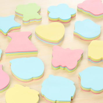 100Pcs/Pack Korean Fashion Various Shape Star Home Love Post It N Times Memo Pad Notebook Student Sticky School Label Gift E0086