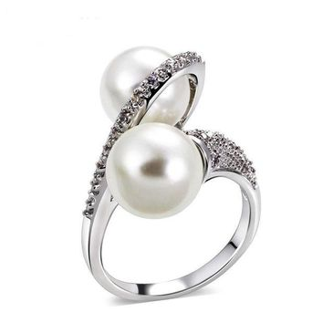 ac spbest Shell pearl micro inlaid zircon ring simple personality fashion ring