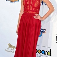 Red White Sleeveless Scoop Neck Lace Top Silk Pleated Maxi Dress Gown - Inspired by Taylor Swift