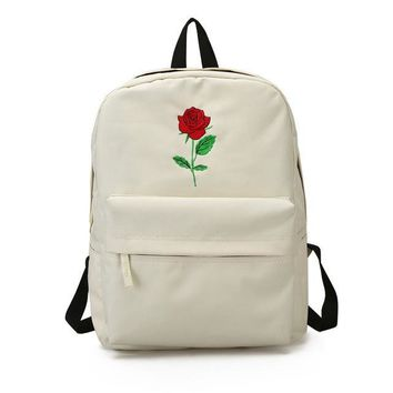 Cute Rose Embroidered White Backpack