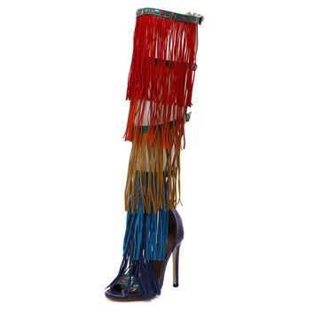 Sexy High Heel Sandals Fashion Knee High Boots Colorful Tassels High Heels Ladies Banq
