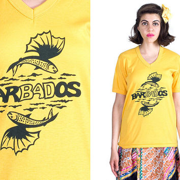 Vintage 1990s Bright Yellow Black Flying Fish Waves Drawing Barbados V Neck T-shirt