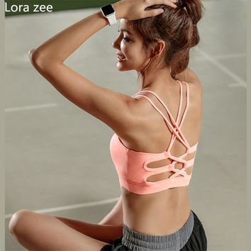 High Quality Womens Pink Sports Bra High Impact Cross Back Padded Wireless Workout Activewear Running Yoga Bra Strappy  Crop Top
