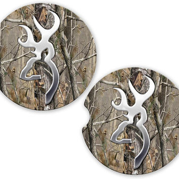 Car Coasters Deer Head Camo, Cup Holder Coaster, New Car Gift, Gift for Him or Her, Sandstone Coaster Cup Car Holder