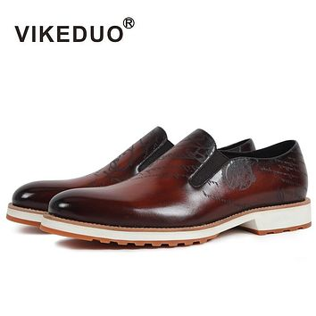 Handmade Men's Loafer Shoes Genuine Leather Fashion Casual Party Dress Young Man Original Design