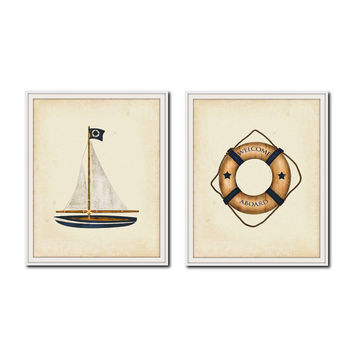 Set of 2 Nautical Nursery Prints, Welcome Aboard and Sailboat Print Set, Summer Travel Posters, Beach House Decor, Welcome New Baby Prints