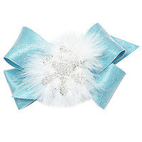 Copper Key Sparkle Overlay Marabou Bow - Turquoise