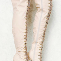 New In Stock, Leatherette Over The Knee Chain Boots
