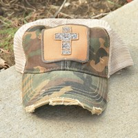 Judith March Beaded Cross Camo Cap