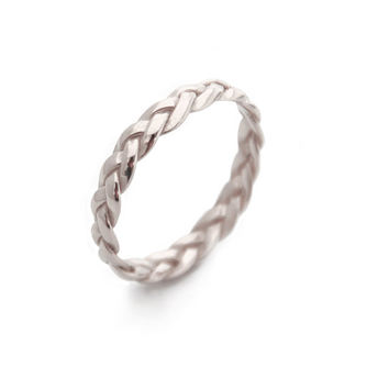 Braided White Gold Ring, Gold Rings, Gold Braided Ring, Simple Ring, Stackable Gold rings, Braided White Gold Ring, Stacking ring