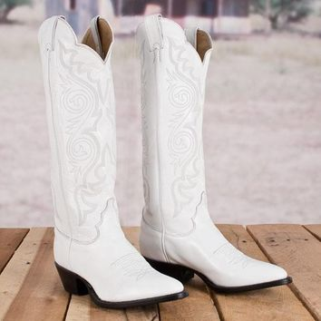 Justin Ladies' White Dyeable Boots - Western - Boots - Women's