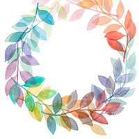 Leaf Wreath - Original Archival Quality Watercolor Painting