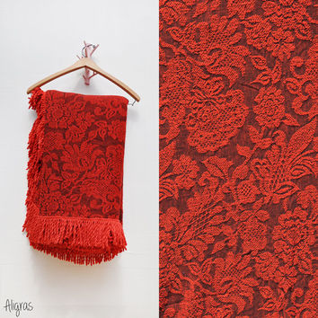 Vintage Fringed Bedspread Coverlet // House of Windsor Bates //  Red and Black // Jacquard Brocade // 1970s // Queen • Full • Double