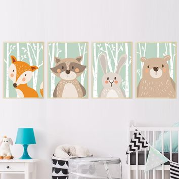 Forest Cute Animals Fox Rabbit Bear Giraffe Canvas Painting Art Print Poster Nursery Wall Picture Kids Baby Room Home Decor