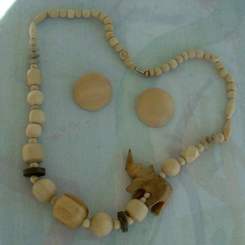 Wood Carved Necklace Rhino w Complementary Post Earrings Animal Vintage Jewelry