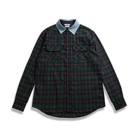 Oversized Plaid Flannel Shirt With Denim Collar