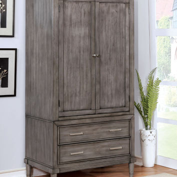 Furniture of america CM7556AR Daphne gray finish wood clothing armoire stand alone closet cabinet