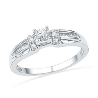 10kt White Gold Womens Round Diamond Solitaire Promise Bridal Ring 1/5 Cttw 100729