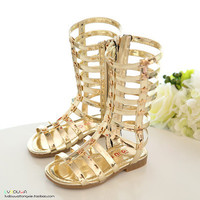 2017 female child sandals princess shoes high shoes cutout gladiator baby boots girl's fashion sandals