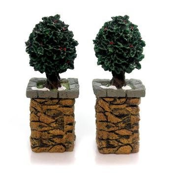 Department 56 Accessory STONE CORNER POSTS W/HOLLY TREE Village Accessories 52649