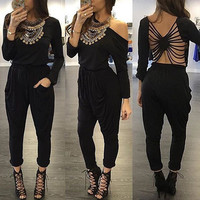 Women Black Full Length Jumpsuit Sexy hollow out bandage long Sleeve One Piece Jumpsuits Overalls  For Women vestido de festa