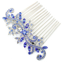 Bride Bridesmaid Wedding accessories Hair Comb Prom jewelry gift, Blue Rhinestone Hair combs L057 CN1