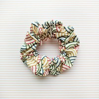 Fabric Scrunchie - Wave Crests in Light Beige