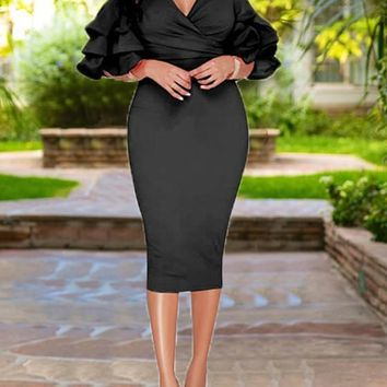 Black Cascading Ruffle Cut Out Sleeve High Waisted Bodycon Elegant Party Midi Dress