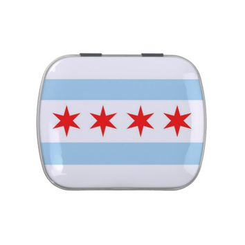 Patriotic candy tins with Flag of Chicago