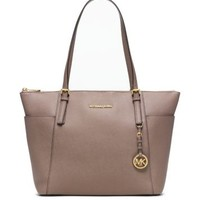 Jet Set Large Top-Zip Saffiano Leather Tote | Michael Kors