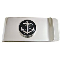Black Nautical Anchor Money Clip