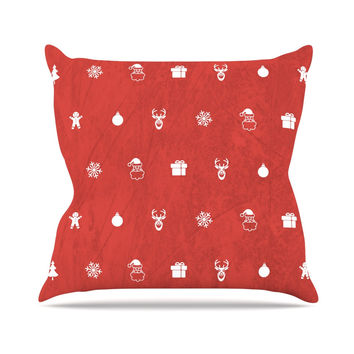 """Snap Studio """"Cheery Pattern Red"""" Maroon Outdoor Throw Pillow"""