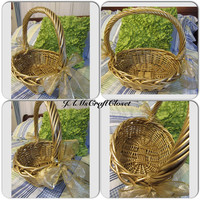 Vintage Basket-Gatheringl Basket-Gold Basket-Woven Basket-Gift-Storage-Table Decor-Centerpiece-Home Decor-Cottage Chic-Wedding Decor-