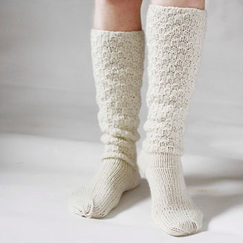 Knitted Socks Knee High Knitted Socks Woman White  Socks Warm And Cozy