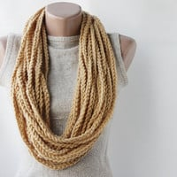 Chain infinity scarf camel  earth yellow crochet by violasboutique