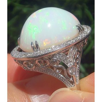 Stunning  .925 Sterling Silver Natural Ethiopian Opal Diamond Estate Ring  Fine Jewelry