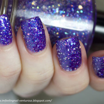 Diva Nail Polish - Purple Glitter Nail Color - 0.5 oz Full Sized Bottle