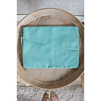 Vintage Aqua Envelope Clutch Bag