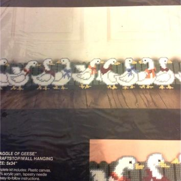 "Vintage Bucilla Plastic Canvas ""GAGGLE OF GEESE"" Draftstop/Wallhanging Kit"