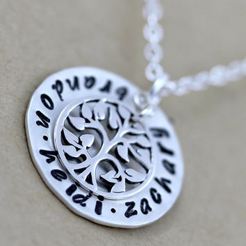 3 Names custom necklace Hand stamped by LustrousElements on Etsy