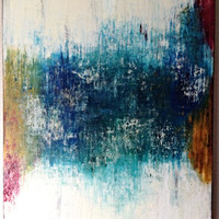 Large Colorful Abstract Mixed Media Oil Painting on 4'x3' Canvas