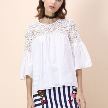 Floral Crochet Panel Dolly Top with Bell Sleeves