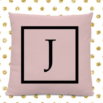 Initial Pillow - Letter Pillow - Pillow with Letter J - Monogrammed Pillow - Custom Throw Pillow - Pink Letter Pillow