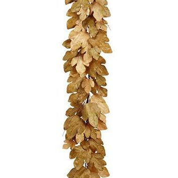 "Artificial Fall Fig Leaf Garland in Tan and Olive Green - 6' Long x 10""-12"" Diameter"