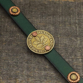 Leather cuff bracelet, German 10 pfennig coin mixed metal copper brass, green, 7 1/2 inches 19cm