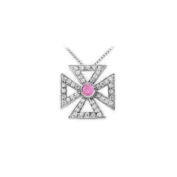 Pink Sapphire and Diamond Maltese Cross Pendant : 14K White Gold - 0.75 CT TGW