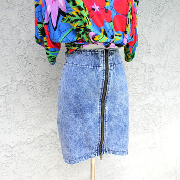Vintage Mini Skirt - 80s Mega High Waisted EXTREME Acid Washed Blue Jean Skirt - Jerry Leigh Brand Modern Size 0 xs - HIGH WAIST