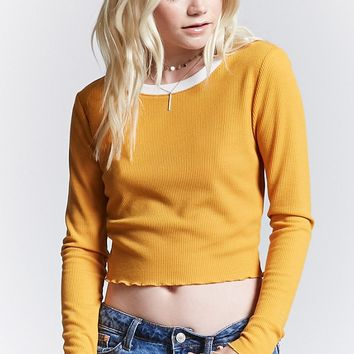 Waffle-Knit Crop Top