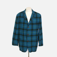 Vintage 60s PENDLETON JACKET / 1960s Shadow Plaid Wool Men's 49er Blazer L