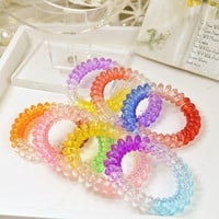 10Pcs/Lot Girls Women Telephone Line Gum Cord Elastic Ponytail Holders Hair Band Ring Ropes Scrunchy Gum for Hair Accessories